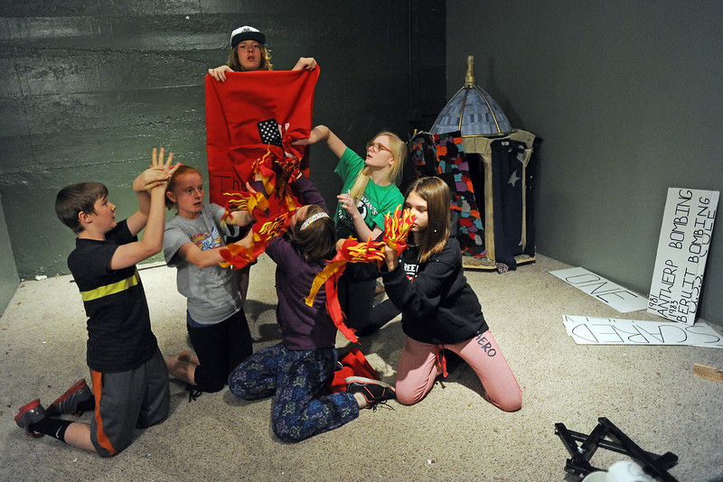 Odyssey of the Mind teammates, from left, Colton Attrell,  Izze Johnson, Kaelan Ramirez, Ryanne Kilmer, Emme Janssen and Maya Bontrager practice a skit together Thursday, April 25, 2013 as they prepare for the upcoming World Finals competition.