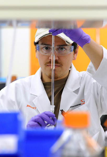 Chemist Jeremy Shaffer works on heavy metal analysis at Front Range Laboratories in Loveland on Tuesday, April 23, 2013.