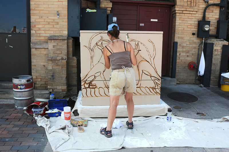 Loveland artist Lyse Dzija paints a utility box near the old train depot in downtown Loveland. The City of Loveland, inspired by a similar project in Fort Collins, is paying artists to spruce up the boxes.