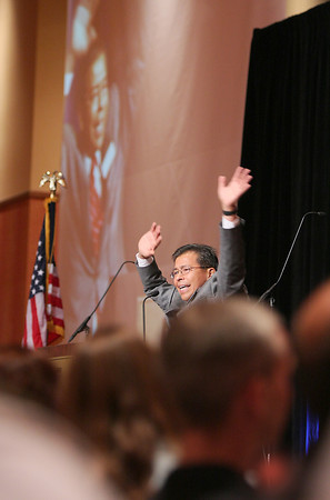 Thompson School District superintendant ,Ron Cabrera, gives an animated speech to more than 1,000 of the district's teachers on their first day back Monday at the Embassy Suites in Loveland.