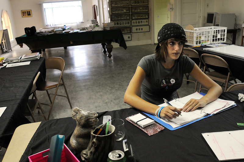 Sabyn Blankenship, 15, of Platteville listens to Linda Benefiel during a tutor session on Sunday at the Odd Fellows Lodge in downtown Loveland.