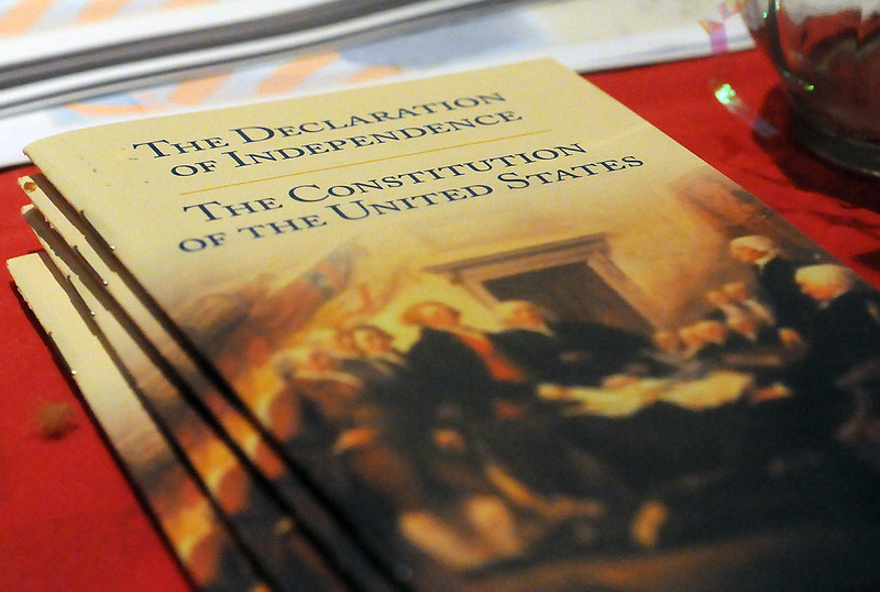 Free booklets with The Declaration of Independence and The United States Constitution were made available for attendees of a Constitution Action Workshop on Saturday at Mountain View Presbyterian Church Fellowship Hall.