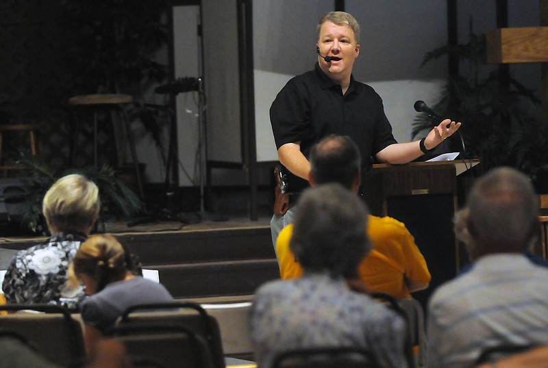Dudley Brown speaks to attendees of a Constitution Action Workshop on Saturday at Mountain View Presbyterian Church in Loveland. Brown is executive director of Rocky Mountain Gun Owners and spoke on the topic of the Second Amendment to the United States Constitution which guarantees the right of the people to keep and bear arms.