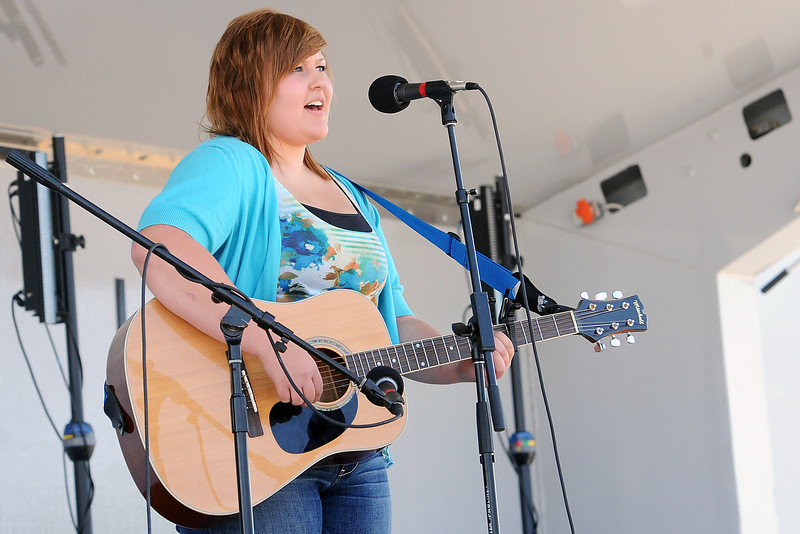 "Chelsea Dodge, 16, sings the song ""If It Means a Lot to You,"" by A Day to Remember during the Loveland's Got Talent event on Saturday, Aug. 25, 2012 at Fairgrounds Park as part of the Old Fashioned Corn Roast Festival."