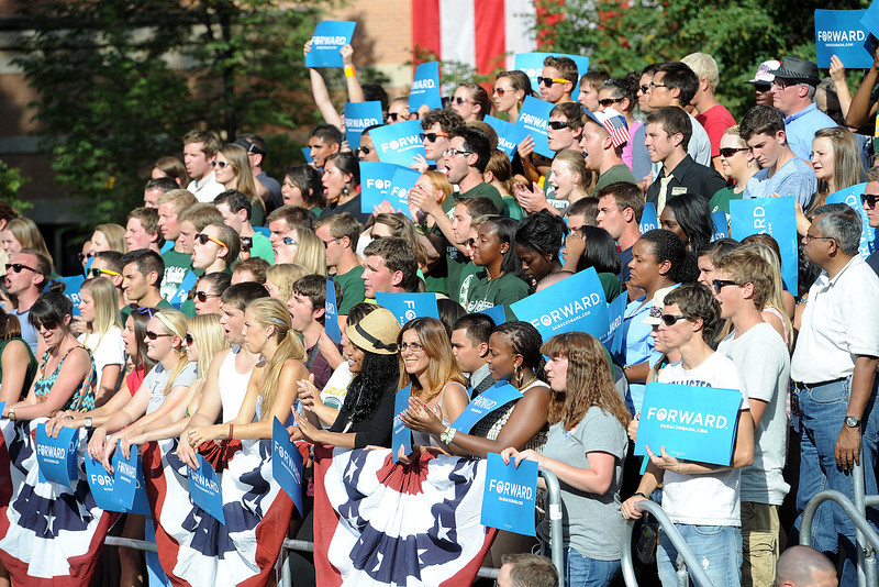 Attendees to a campaign rally for President Barack Obama cheer during his speech on the Colorado State University campus in Fort Collins, Colo. on Tuesday, Aug. 28, 2012.