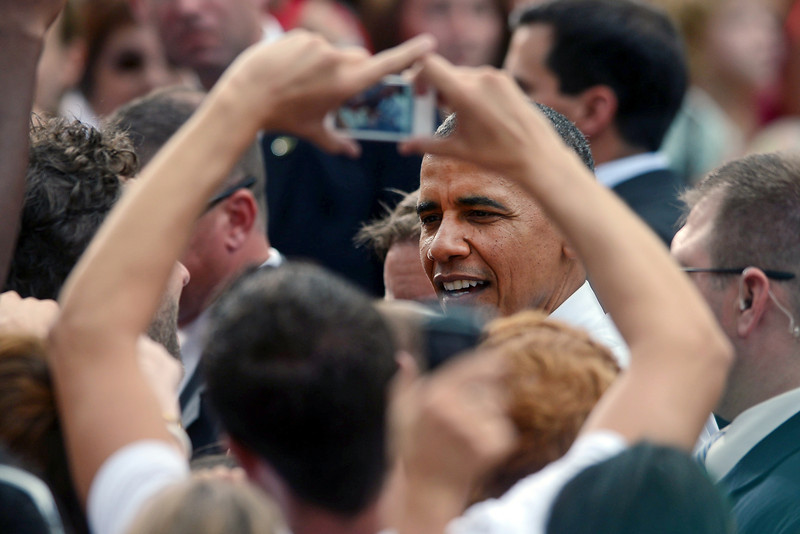 President Barack Obama greets the crowd after giving a speech Tuesday, Aug. 28, 2012 on the Colorado State University campus in Fort Collins, Colo. during a campaign stop in the state.
