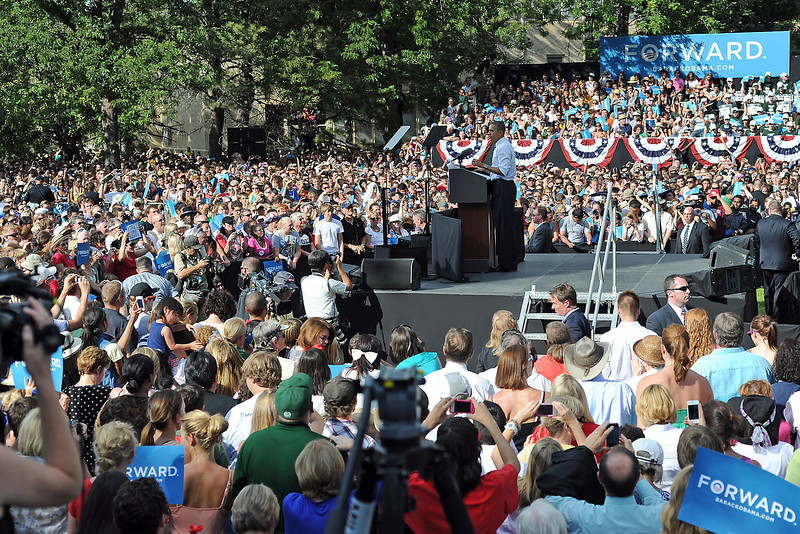 President Barack Obama gives a speech Tuesday, Aug. 28, 2012 on the Colorado State University campus in Fort Collins, Colo. during a campaign stop in the state.