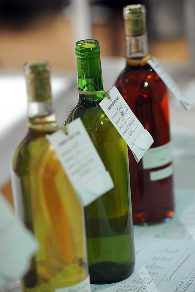 Some of the fruit wines that were judged during the Larimer County Fair Wednesday at The Ranch.