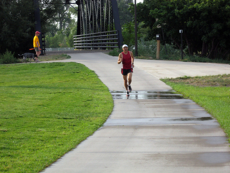 Tim Jones of Loveland does a practice run at Fairgrounds Park, near the finish line of the Valley 5000 Run/Walk. The 5K race will start and end at Fairgrounds Park Friday evening. This is the 30th year of the 5k race and Jones will have participated in all of them on Friday.
