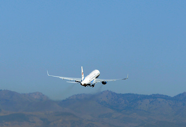 Air Force One takes off from the Fort Collins-Loveland Municipal Airport Wedendsay in Loveland.