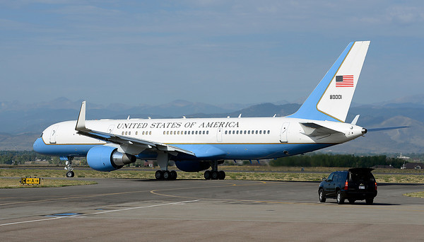 With President Obama inside, Air Force One taxis to the runway Wednedsay at the Fort Collins-Loveland Municipal Airport in Loveland.