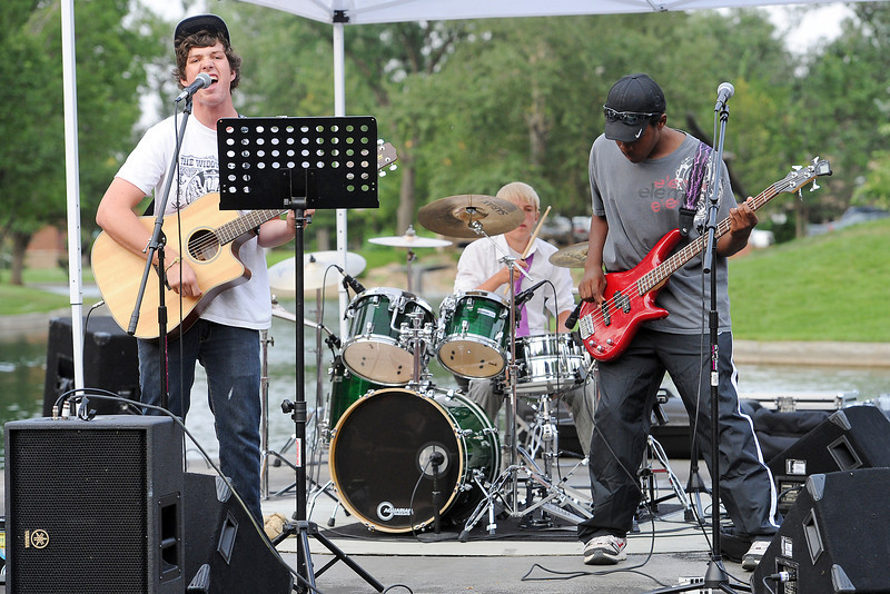 Members of the band The Brash, from left, Sam Wright, 15, Ben West, 14, and Caleb Keller, 15, perform a song during the teen Battle of the Bands on Wednesday, Aug. 15, 2012 at Foote Lagoon.