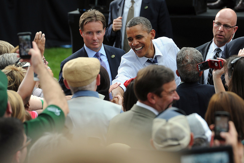 President Barack Obama greet people after giving a campaign speech on the Monfort Quad of the Colorado State University campus in Fort Collins, Colo. on Tuesday, Aug. 28, 2012.
