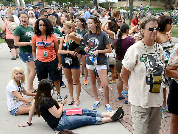 People wait in line Tuesday to hear President Obama speak at CSU in Fort Collins.