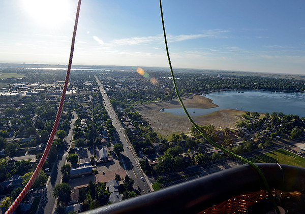 A view of Lake Loveland and 29th Street looking east seen from a hot air ballon Friday.
