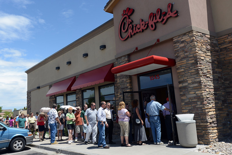 A line forms outside the Loveland Chick-fil-A located at 1545 Rocky Mountain Ave. as they wait to place their orders for lunch on Wednesday, Aug. 1, 2012.
