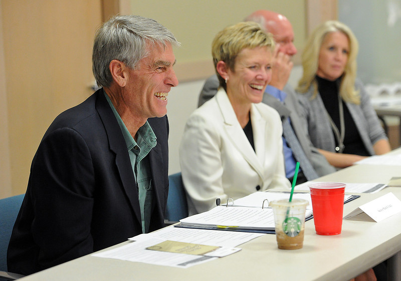 "U.S. Sen Mark Udall speaks Tuesday during an economic developement round table titled ""A Vision for Job Creation in Northern Colorado"" at the Chamber of Commerce in Loveland."