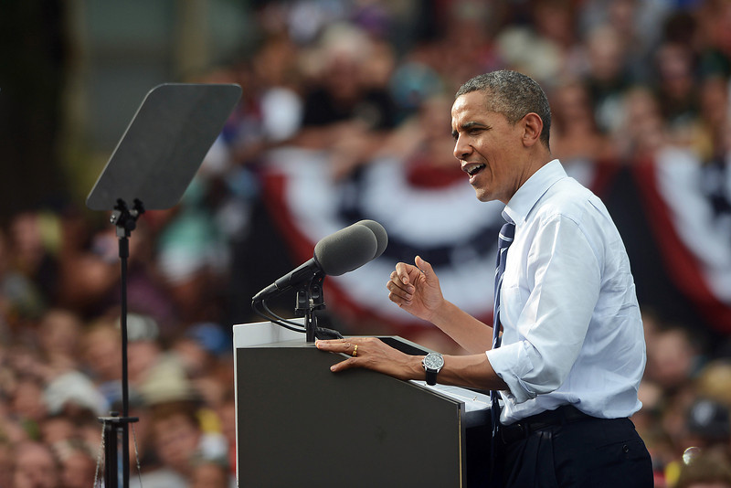 President Barack Obama gives a campaign speech during a rally on the Colorado State University campus in Fort Collins, Colo. on Tuesday, Aug 28, 2012.
