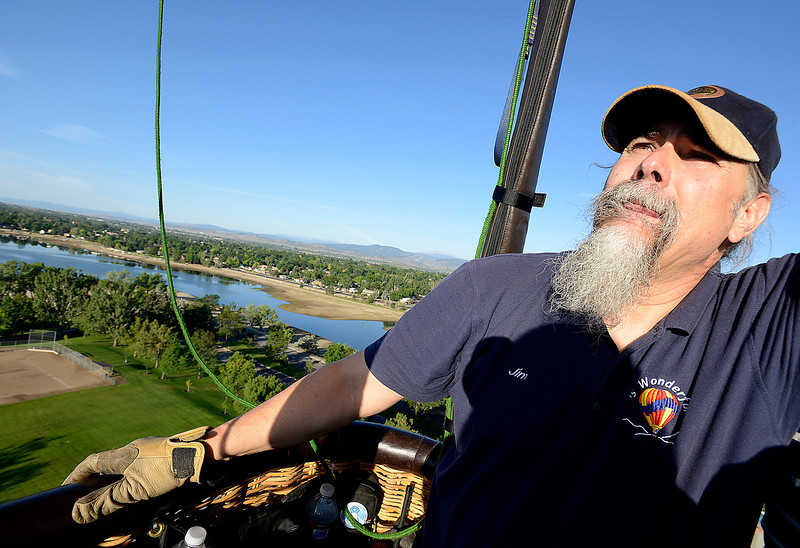 Jim Pansa of Denver pilots his hot air balloon, 's Wonderful, Friday morning above North Lake Park and Lake Loveland.