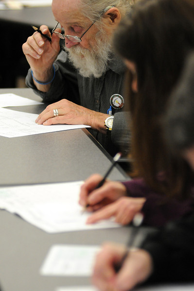 Gene Hines of Loveland takes a test to work for the U.S. Census during the application process at the Loveland Police and Courts Building. Hines who said he was applying to supplement his retirement, was one of 16 people who were applied to work for the census. According to a census employee, another job fair will be held from 8:30 a.m to 3 p.m., Jan. 6 at the Vinyard of the Rockies Church at 900 Josephine Court to fill the 1,700 positions in a nine county area that includes Larimer County.