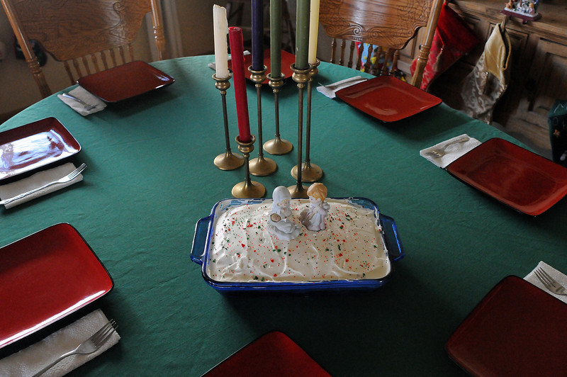 The table is set at Starr Blanchard's home on Christmas Eve.