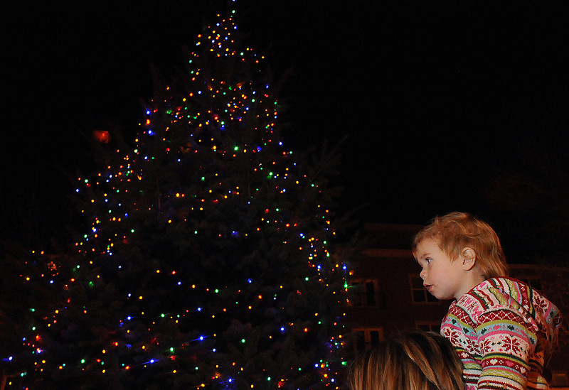 Sydney Moore, 2, sits on her mother Leslie Moore's shoulders Sunday during the Holiday Tree Lighting at the Loveland Museum/Gallery.