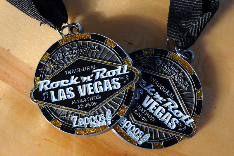 Nicole and Jacob Fellure won medals for running a marathon in Las Vegas earlier this month.