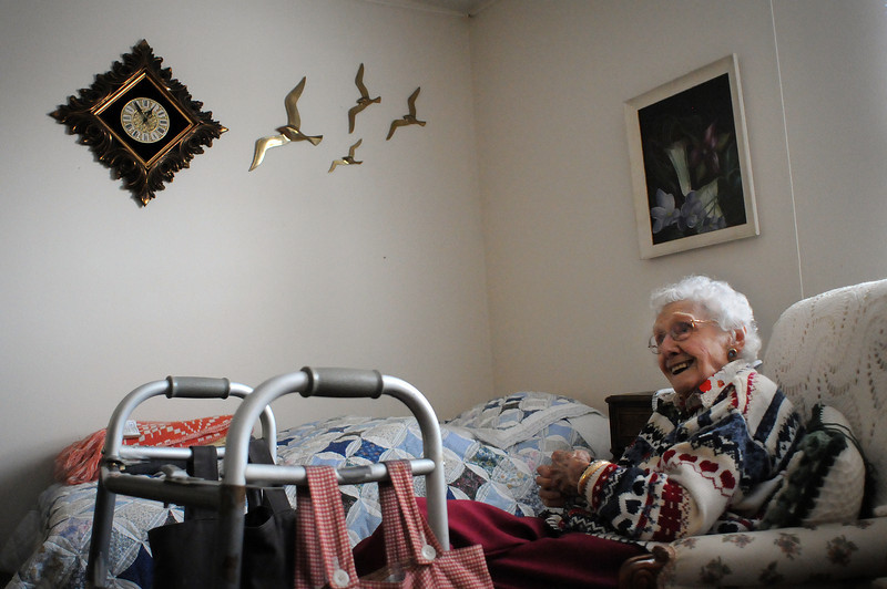 Gladys Rowand talks about her nearly 100-year-long life during an interview Monday at The Courtyard of Loveland assisted living center. Rowand grew up in Damascus, Ohio, and worked at a Buick dealership for much of her life before moving to Loveland near her family. Rowand turns 100 today.