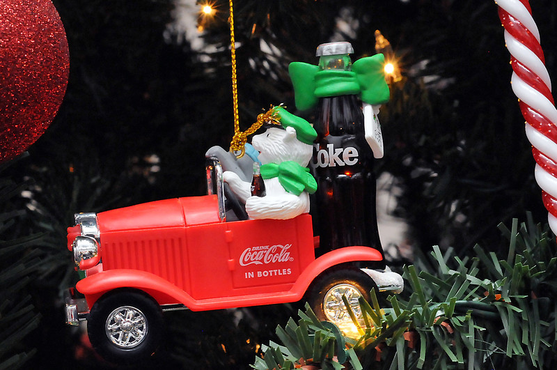 Victoria Villavicencio has more than 400 Christmas tree ornaments with a Coca-Cola theme.