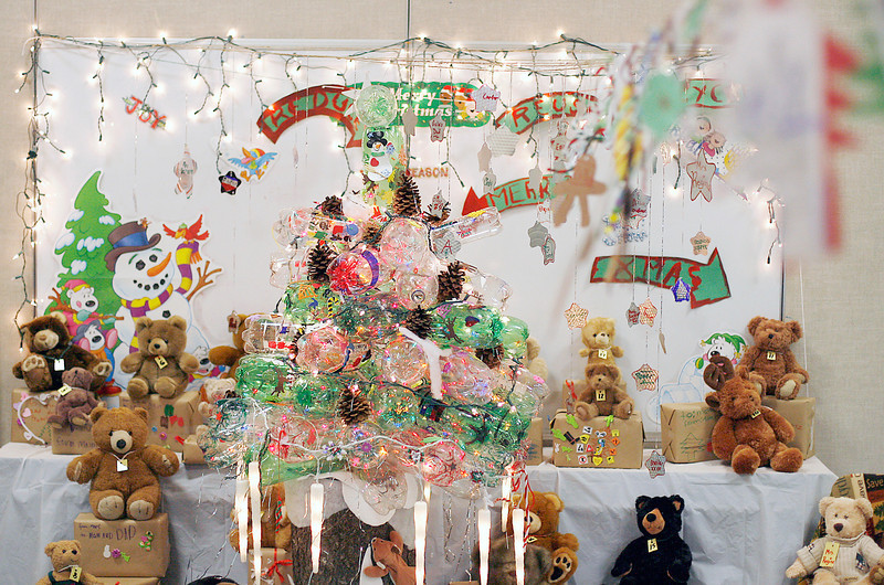 The Christmas display that children in the After School Kare program at Namaqua Elementary School made out of recycled materials won a Christmas decorating contest with other Loveland elementary schools. Photo by Gabriel Christus