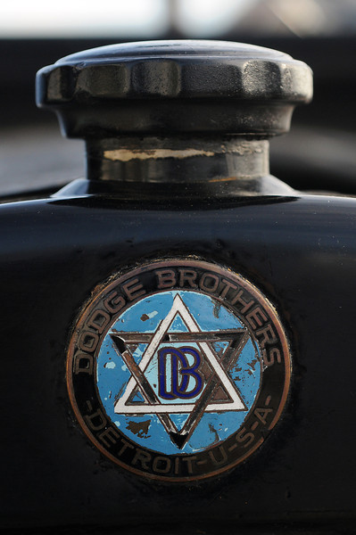 "The front emblem and radiator cap on the 1919 Dodge Brothers tourning car that was used in the classic Christmas film from 1946 called, ""It's a Wonderful Life."""