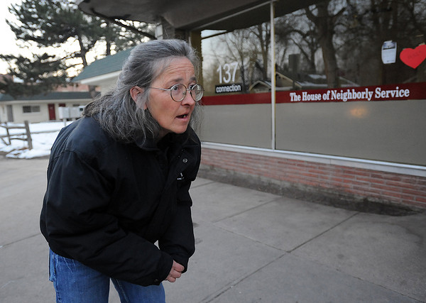 Diane Johnson looks for her 21 year-old son Paul Johnson Thursday evening outside the day shelter for the homeless in downtown Loveland. Johnson was worried her son would not make it to the shelter in time to catch a van to go to the night shelter. Photo by Jenny Sparks