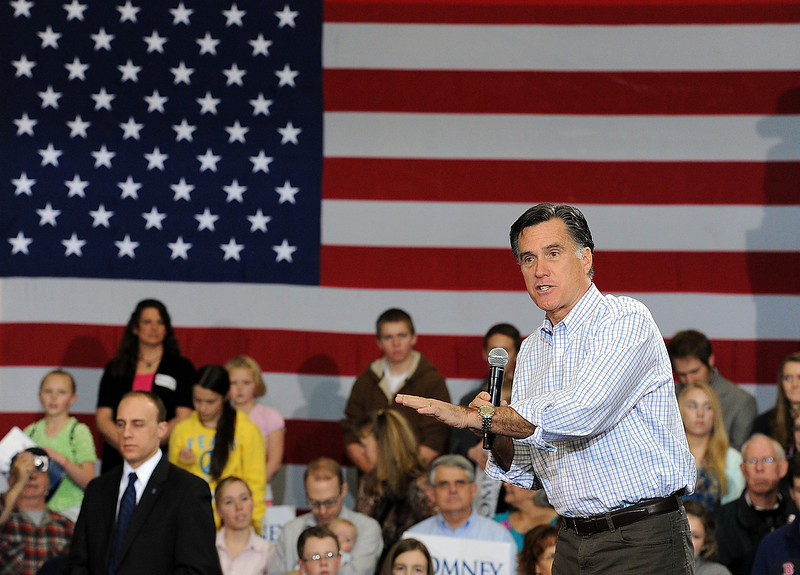 Mitt Romney speaks Tuesday at RV America in Johnstown. Photo by Jenny Sparks