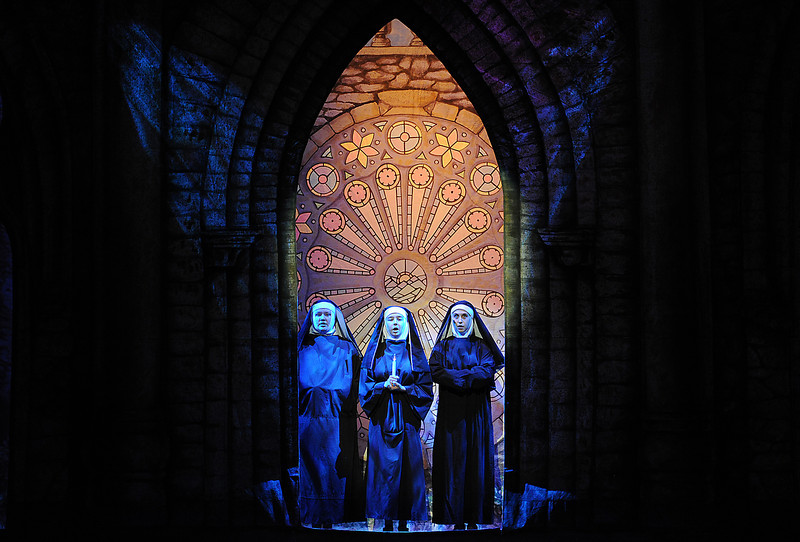 "Nun soloists played by Sierra Blomstedt, left, Brittany Hennings, center, and Elise Grauberger sing a song during rehearsal Monday for Mountain View High School's production of ""The Sound of Music."" Photo by Jenny Sparks"
