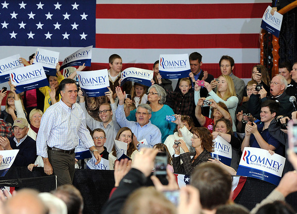 Supporters cheer as Mitt Romney arrives to a presidential candidate rally Tuesday at RV American in Johnstown. Photo by Jenny Sparks