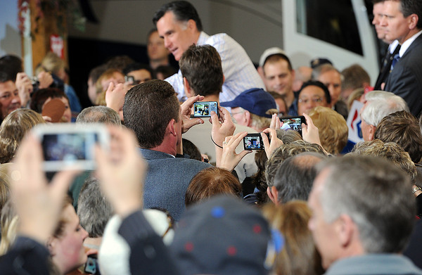 Supporters take photos of Mitt Romney during a campaign stop in Johnstown. Photo by Jenny Sparks