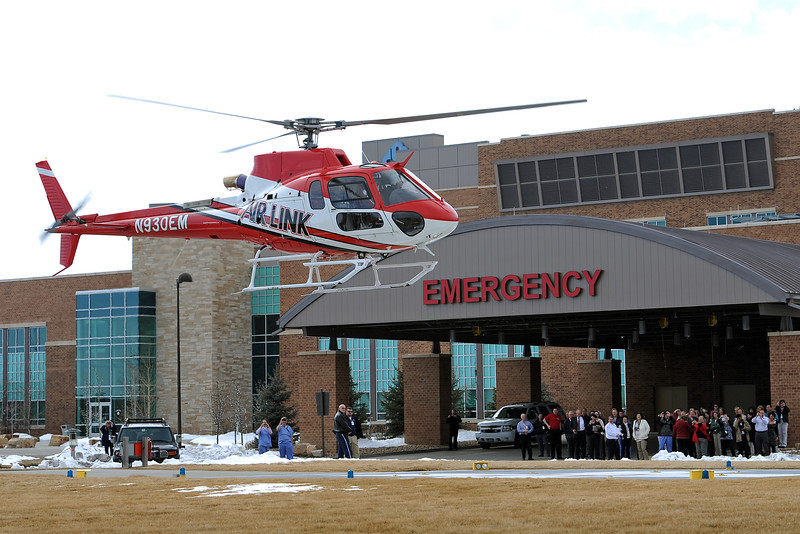 Medical Center of the Rockies' new Air Link helicopter prepares to land on the helipad on the east side of the hospital on Tuesday, Feb. 14, 2012.