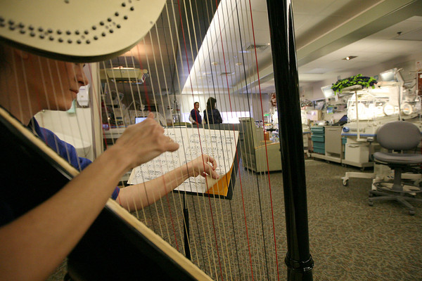 Loveland resident, Hillary Schefter, plays the harp for the NICU on Friday at St. Joseph's in Denver. Schefter stayed in the NICU 25 years ago when she was born and is now giving back by volunteering here once a week.(Photo by Gabriel Christus)