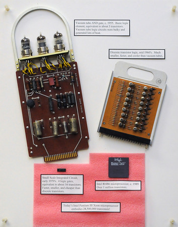 Colorado Computer Museum display board containing vacuum tubes, transistors and integrated circuits from computer systems.