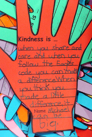 Students at Centennial Elementary School wrote positive messages on paper hands that will be placed on display throughout the school.