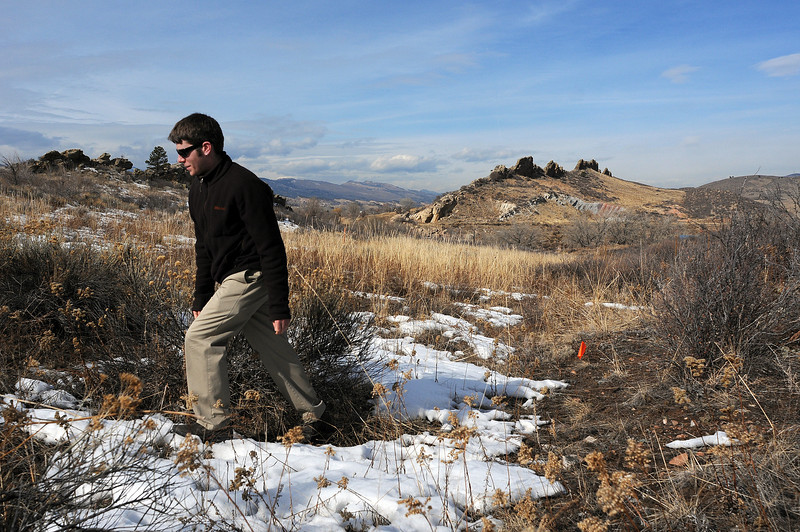 Larimer County Open Lands Education Coordinator Rob Novak walks a new section of Devils Backbone Open Space during a media event on Wednesday. The 11.79 acre Russ Crowder area will open to the public in early June and will provide visitors with access to views of the geologic wealth of the area.