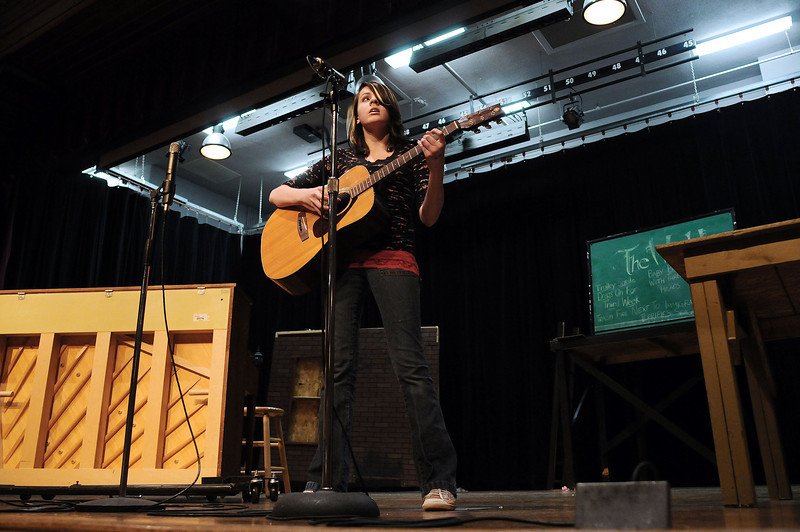 "Piper Brown, 13, sings ""Scarborough Fair"" during auditions for a variety show called ""Bill Reed Presents..."" on Wednesday afternoon at Bill Reed Middle School. Students will perform at 7 p.m. on Feb. 11 at the Rialto Theater. The parent committee called ProLISA which organized the event was formed to raise money to head off any possible cuts to the Loveland Integrated School of the Arts program."