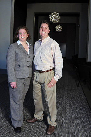 Midtown Arts Center president Kurt Terrio, right, and Midtown Events owner Marissa Walters pose Wednesday in the grand lobby of the facility located at 3750 S. Mason St. in Fort Collins.