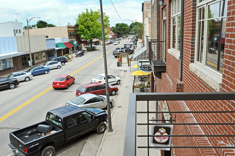 Loveland's Fourth Street is seen Tuesday afternoon from a balcony of one of Barry Floyd's buildings at the corner of Fourth Street and Cleveland.