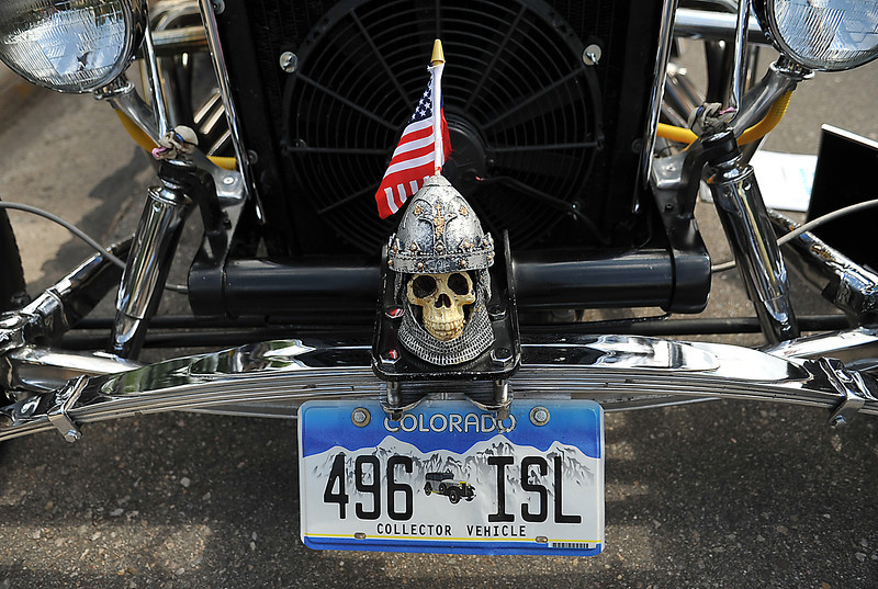 A miniature skull makes for an interesting hood ornament at the Classic Car Show Saturday during Summerfest near downtown Loveland.