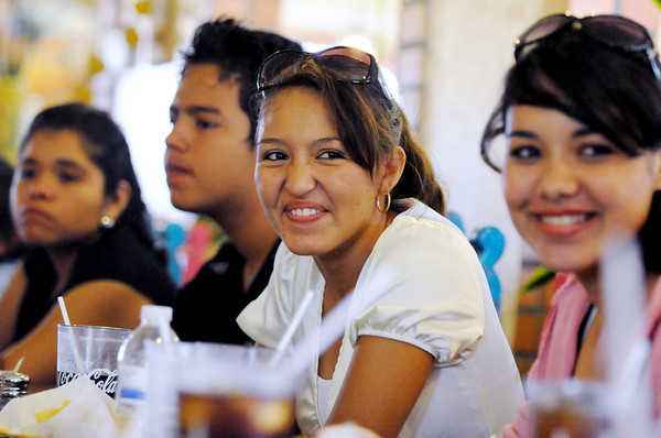 From left, dancers Avril Perez Martinez, Alan Mendez Cardenas, Diana Galindo Torres and Barbara Trillo from Casa Hogar Los Angelitos and Casa de Cultura de Manzanillo enjoy a meal at Guadalajara restaurant in Windsor on Tuesday.