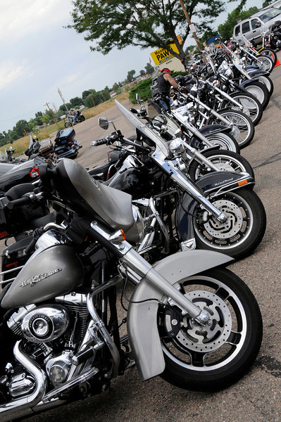 Some of the motorcycles used in Katie's Ride outside of Crazy Jack's in Fort Collings on Sunday.