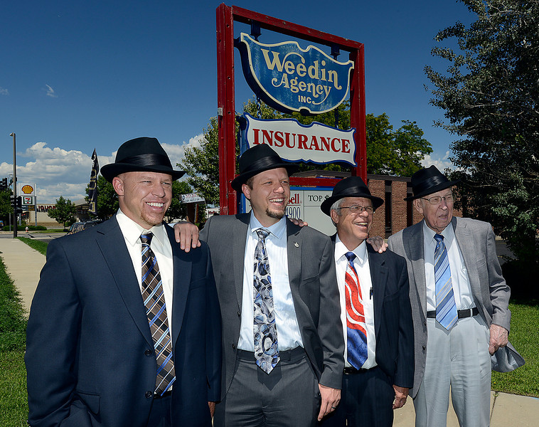 The Weein Agency is celebrating 56 years in business. The original owner Ken Weedin, right, his son Lawrence Weedin, center right, and grandsons Eric Weeding, center left, and Mark Weeding, all work in the business.