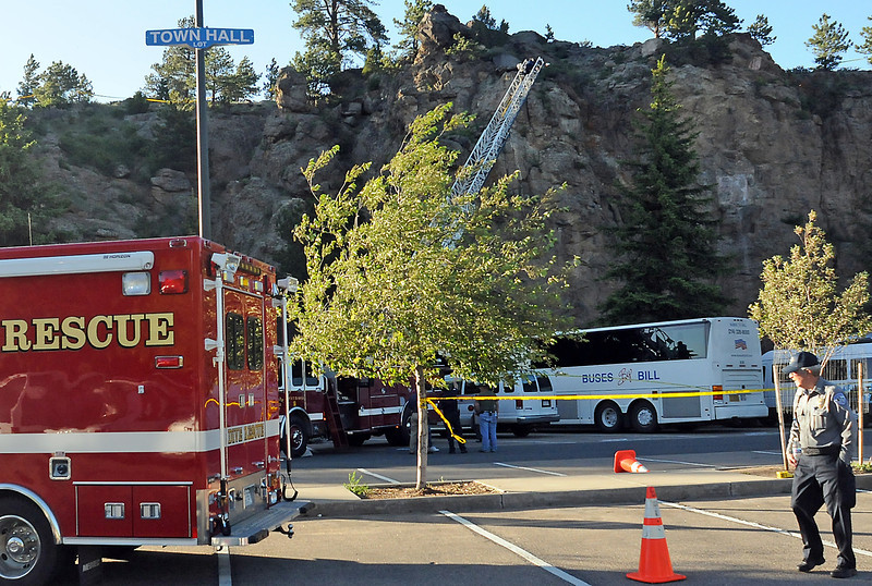 Emergency personnel investigate at the scene of an accident Thursday evening in the parking area behind the Estes Park's Town Hall where a tourist was killed after being struck by a rock.
