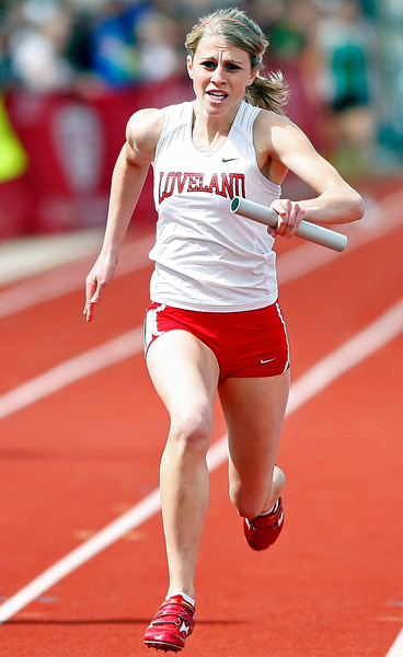 Loveland High School's Steph Hutsell runs in the 400-meter relay during the Class 5A State Track and Field Championships on May 21, 2011 at Jeffco Stadium in Arvada.